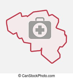 Isolated Belgium map with a first aid kit icon