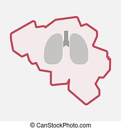 Isolated Belgium map with a healthy human lung icon