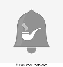 Isolated bell icon with a smoking pipe