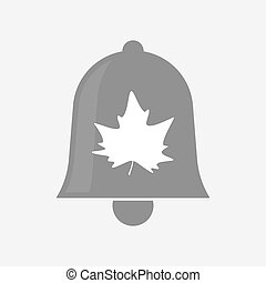 Isolated bell icon with an autumn leaf tree