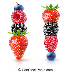 Isolated berries on top of each other