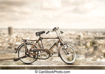 isolated bicycle in urban sidewalk