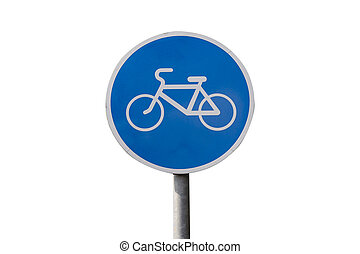 Isolated bicycle lane sign
