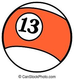 Isolated billiard ball - Isolated comic billiard ball on a...