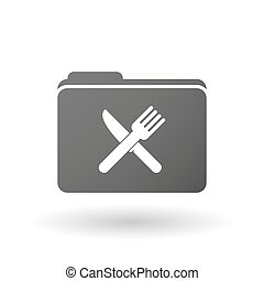 Isolated binder with a knife and a fork
