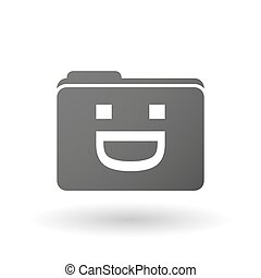 Isolated binder with a laughing text face