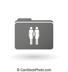 Isolated binder with a lesbian couple pictogram