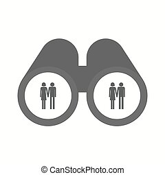 Isolated binoculars with a heterosexual couple pictogram