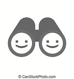 Isolated binoculars with a smile text face