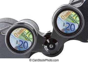 isolated binoculars with money