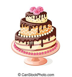 isolated  birthday cake tier with roses