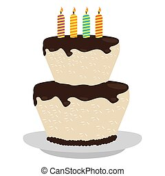 Isolated birthday cake with candles