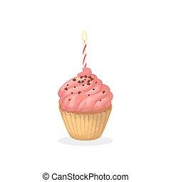 Isolated birthday cupcake.