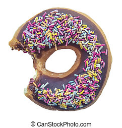 Isolated Half Eaten Chocolate Donut With Speinkles On A White Background