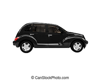 isolated black american car side view
