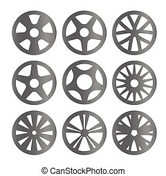 Isolated black and white color alloy wheels logo collection, car elements logotype set vector illustration.