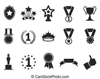 black award icons set