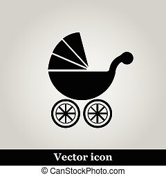 Isolated black baby carriage