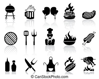 isolated black barbecue icons from white background