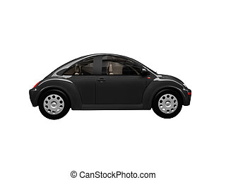isolated black beetle car side view