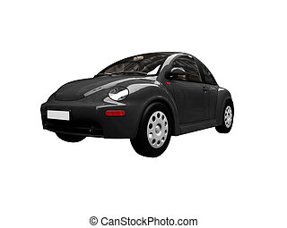 isolated black bug car front view 01