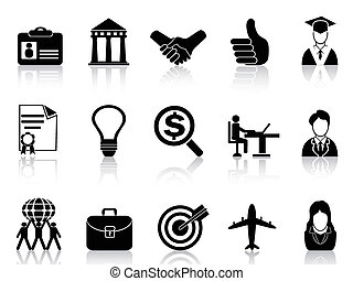 isolated black Business Career Icons from white background