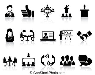 business meeting icons set - isolated black business meeting...