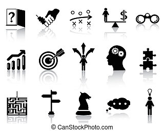 business strategy icons set - isolated black business ...