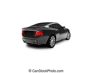 isolated black car back view 01 - black car on a white ...