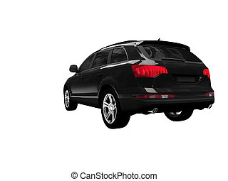 isolated black car back view 01 - black car on a white...