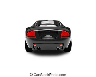 isolated black car back view 02 - black car on a white...
