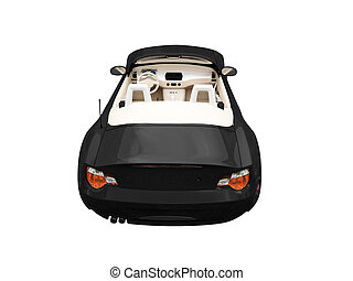 isolated black car back view 02