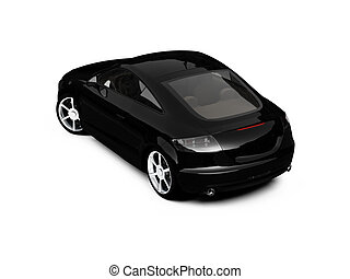isolated black car back view