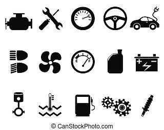 car engine icons set