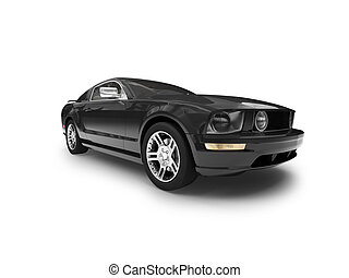 isolated black car front view 01 - black car on a white...