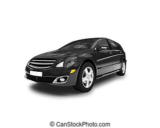 isolated black car front view 01 - black car on a white ...