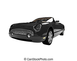 isolated black car front view 01 - isolated american car on...