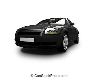 isolated black car front view 01 - isolated black sport car...