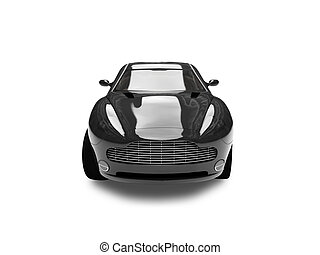 isolated black car front view 02 - black car on a white ...