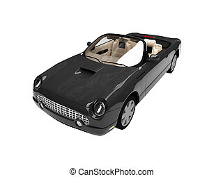 isolated black car front view 02 - isolated american car on...