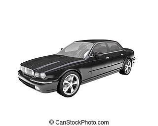 isolated black car front view 03 - black car on a white ...
