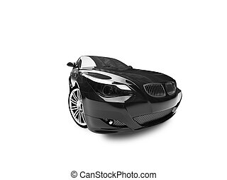 isolated black car front view 04 - black car on a white...