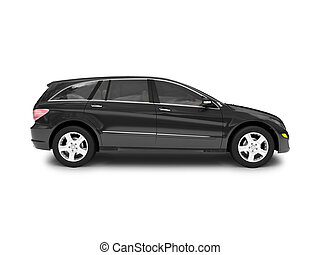 isolated black car side view - black car on a white ...