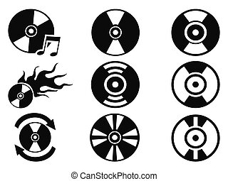 black cd icons set
