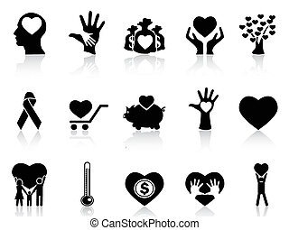 black charity and donation icons - isolated black charity...