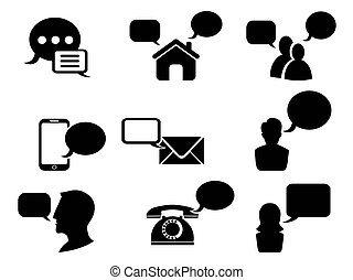 black chat icons set