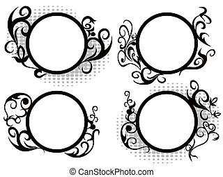 Circle floral frame decoration