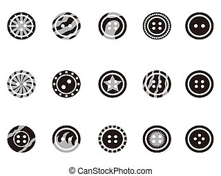 Black Clothing Button icons - isolated Black Clothing Button...
