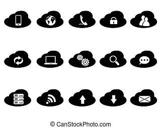 black cloud icons set
