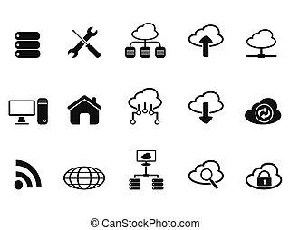 black cloud network icons set